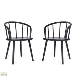Charcoal Carver Dining Chair Pair