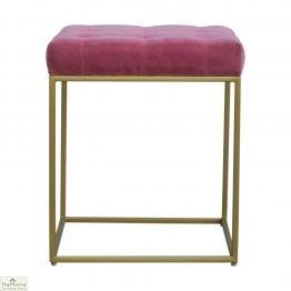 Gold Base Pink Velvet Footstool
