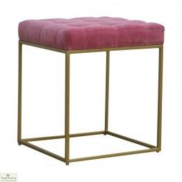 Gold Base Pink Velvet Footstool_1