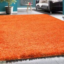 Orange Plain Shaggy Rug_6