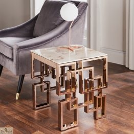 Marble Glass Rose Gold Side Table_1