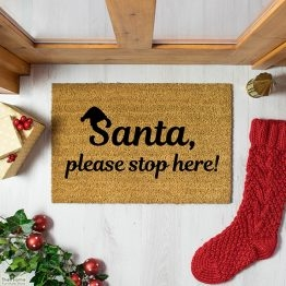 Santa Please Stop Here Christmas Doormat_1